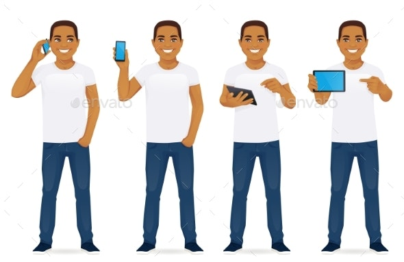 Man with Gadgets Set - People Characters