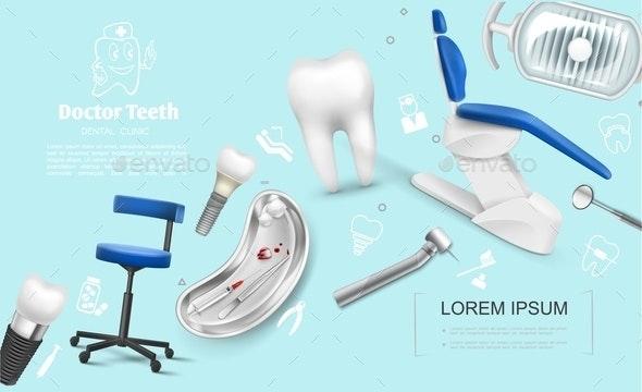 Realistic Dentistry Colorful Template - Health/Medicine Conceptual