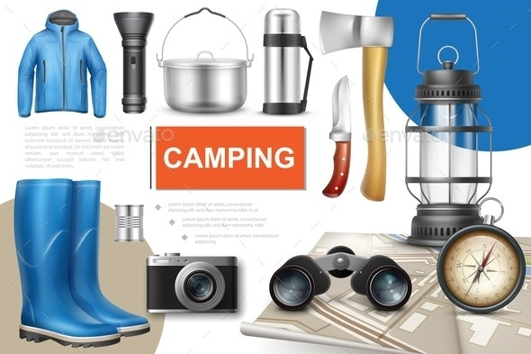 Realistic Camping Elements Collection - Food Objects