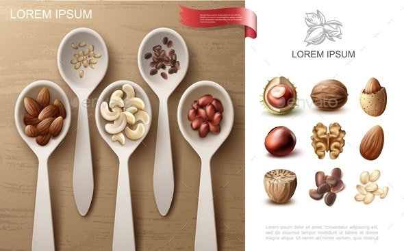 Realistic Natural Nuts Colorful Concept - Food Objects
