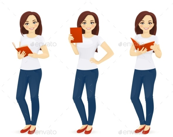 Woman Reading Book - People Characters