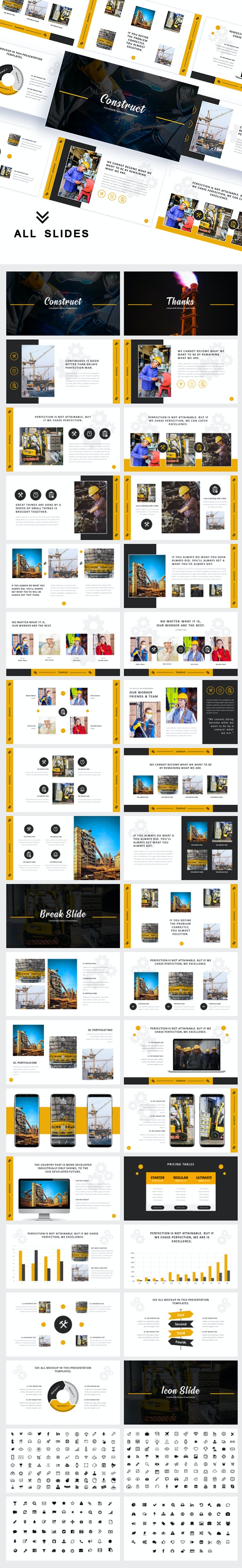 Construct Industrial & Factory Google Slides Template - Google Slides Presentation Templates