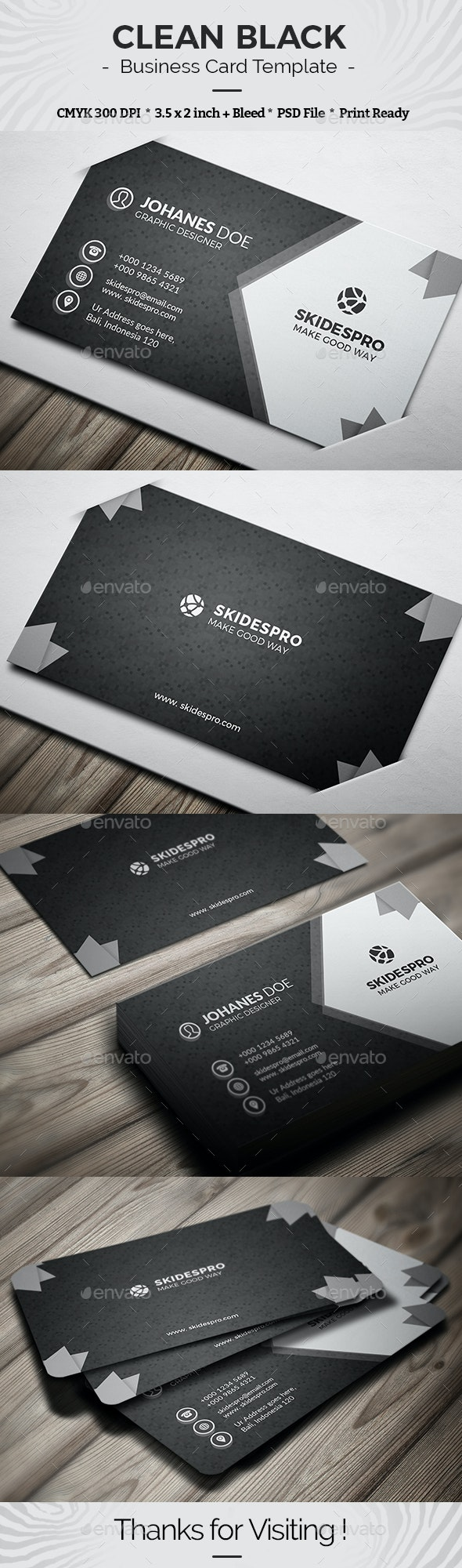 Clean Black - Business Cards Print Templates