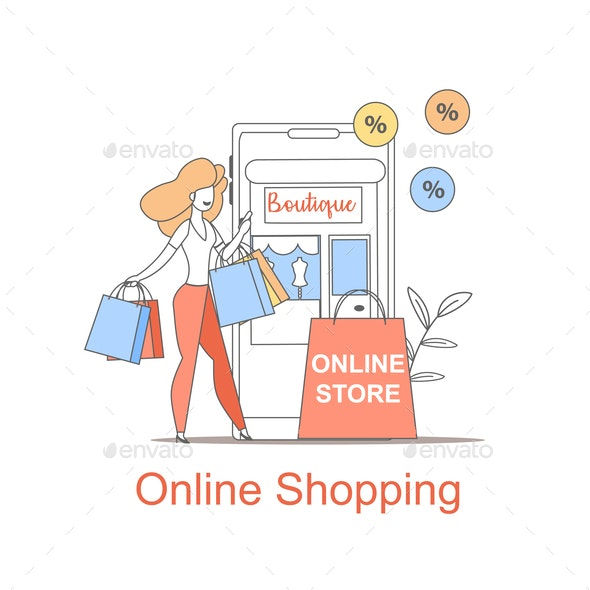 Young Girl make Purchase Online Shopping Mobile - Web Technology