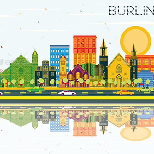 Burlington Iowa Skyline with Color Buildings