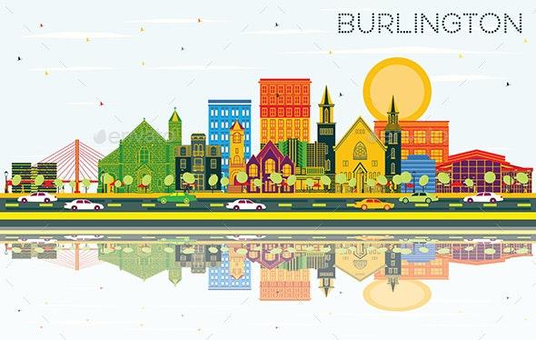 Burlington Iowa Skyline with Color Buildings - Buildings Objects