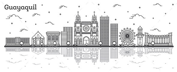Outline Guayaquil Ecuador City Skyline with Historical Buildings - Buildings Objects