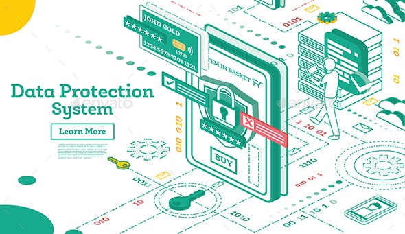 Data Protection System Isometric - Computers Technology