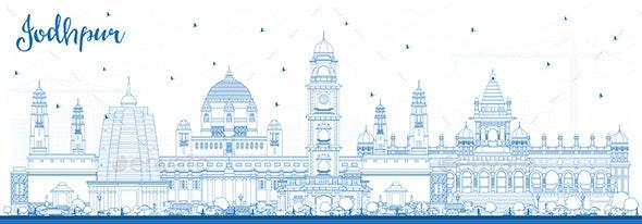 Outline Jodhpur India City Skyline with Blue Buildings - Buildings Objects