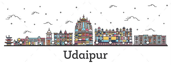 Outline Udaipur India City Skyline with Color Buildings - Buildings Objects