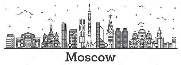 Outline Moscow Russia City Skyline - Buildings Objects