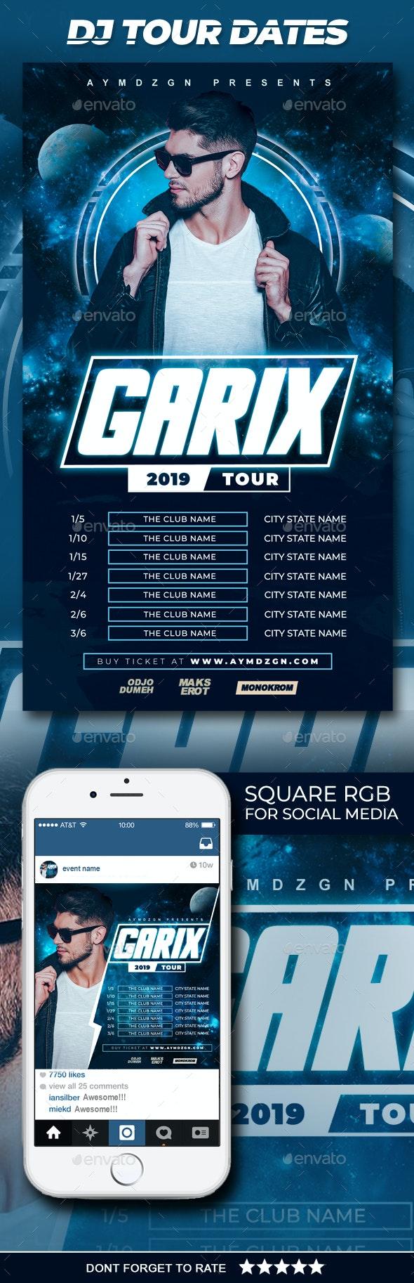 DJ Tour Dates Flyer - Clubs & Parties Events