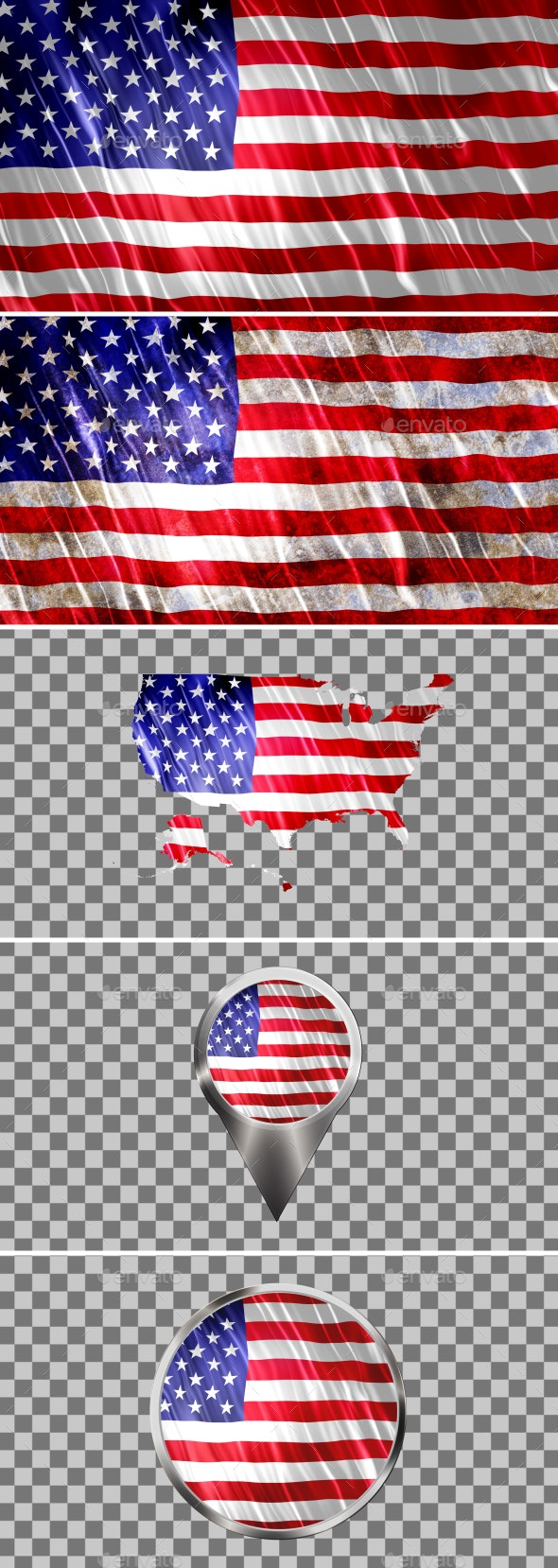 United States of America Flags Icons Map Kit - Backgrounds Graphics