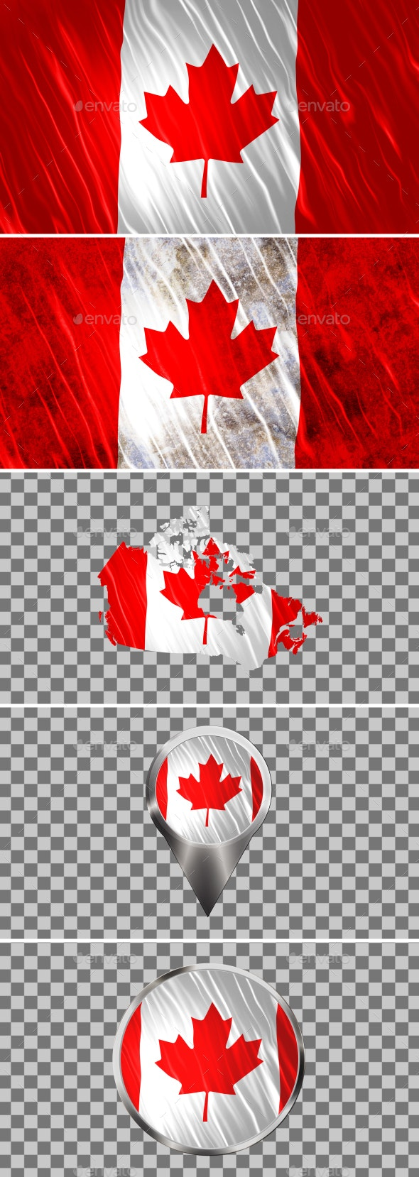 Canada Flags Icons Map Kit - Backgrounds Graphics