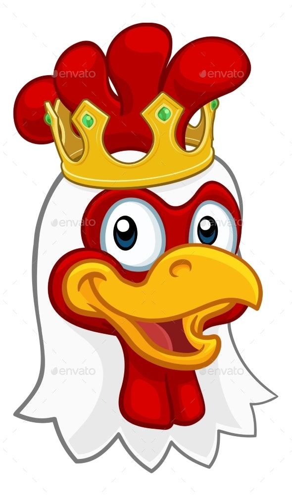 King Chicken Rooster Cockerel Bird Crown Cartoon - Animals Characters
