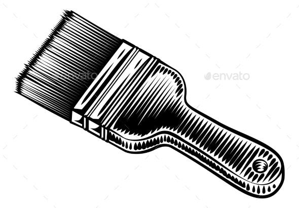 Decorators Paintbrush Vintage Woodcut Style - Miscellaneous Vectors