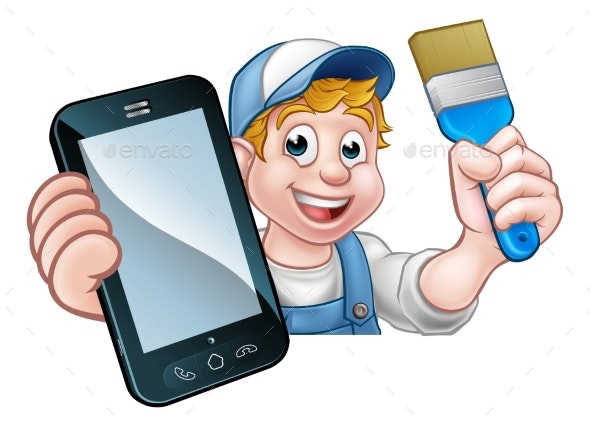 Painter Decorator Handyman Phone Concept - People Characters