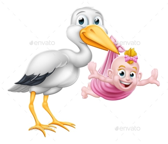 Stork Cartoon Pregnancy Myth Bird With Baby Girl - Animals Characters