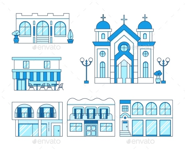 Line Art Set of Houses with Balcony, Church and Shop - Buildings Objects
