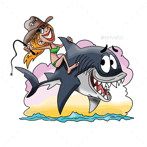 Cartoon Blond Girl Riding a Great White Shark Vector Illustration - Animals Characters