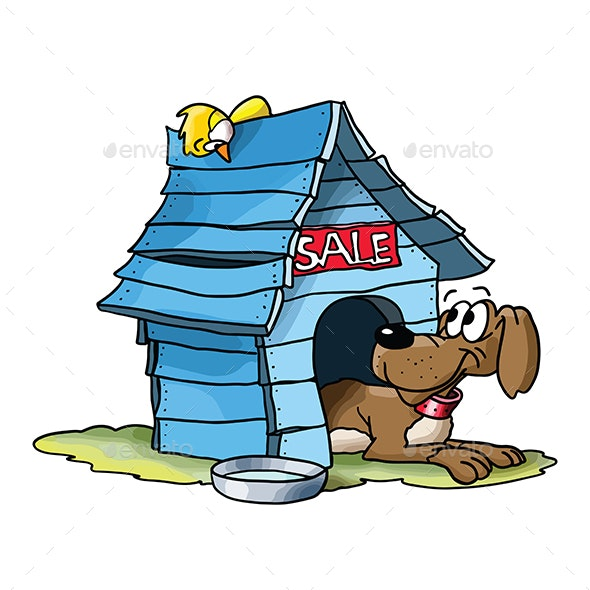 Cartoon Dog Selling His Wooden Blue House Vector Illustration - Animals Characters