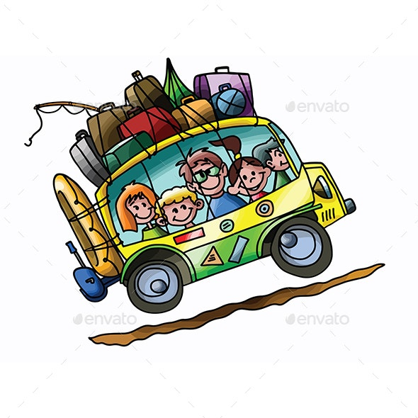 Cartoon Family Going to Summer Camp - Travel Conceptual