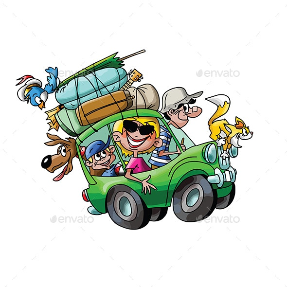 Cartoon Family Going on Vacation - Travel Conceptual