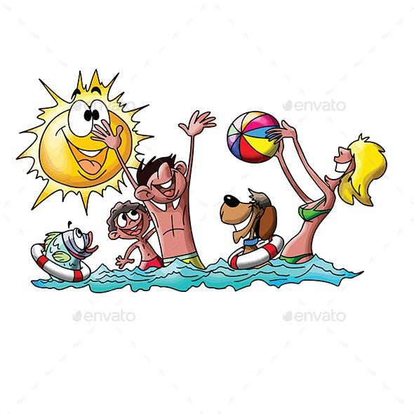 Cartoon Family on Vacation