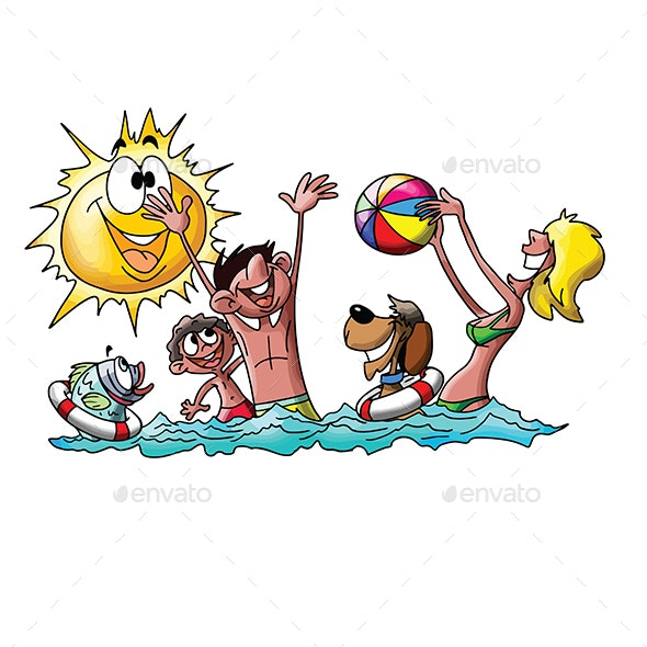 Cartoon Family on Vacation - Travel Conceptual