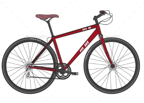 Illustration of a Red Sports Modern Bike - Sports/Activity Conceptual