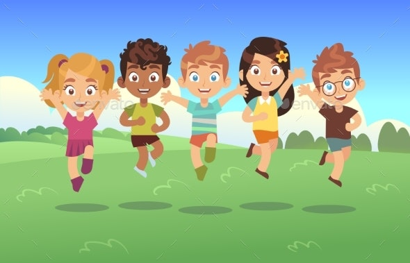 Happy Jumping Kids - People Characters