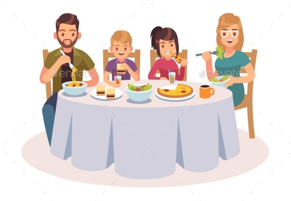 Family Eating at the Table - People Characters