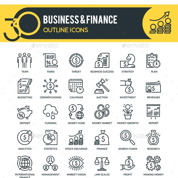 Business and Finance Outline Icons