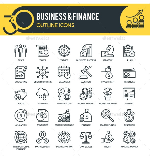 Business and Finance Outline Icons - Business Icons
