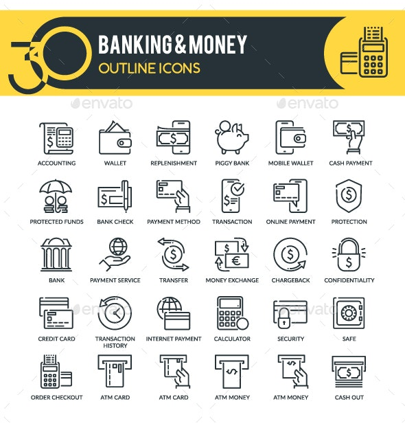 Banking and Money Outline Icons - Business Icons