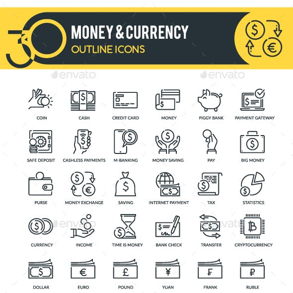 Money and Currency Outline Icons