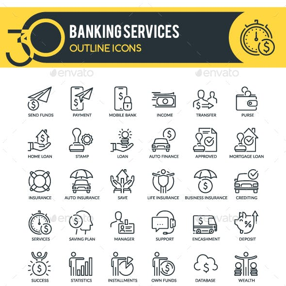 Banking Services Outline Icons