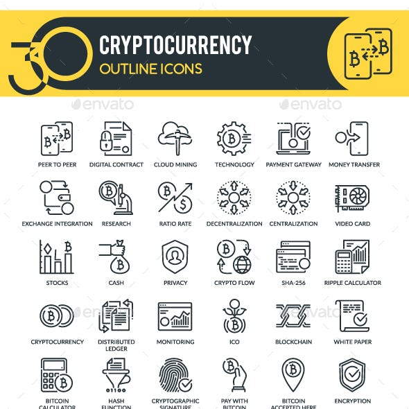 Cryptocurrency Outline Icons