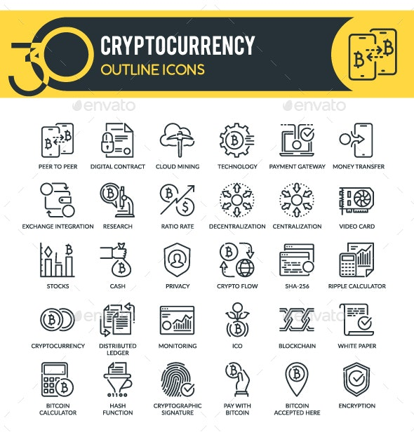 Cryptocurrency Outline Icons - Technology Icons