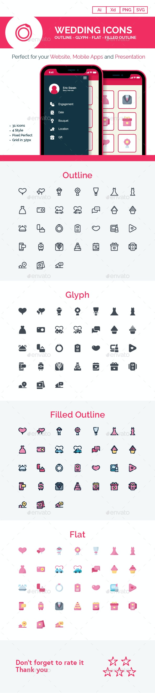 Wedding Icons For Your Website, Mobile Apps and Presentation - Icons