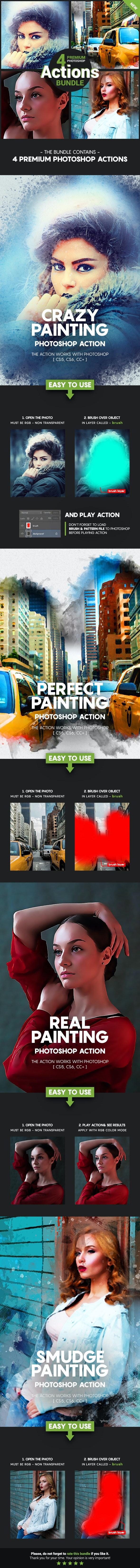 4 Premium Photoshop Actions Bundle - March19 #2 - Photo Effects Actions