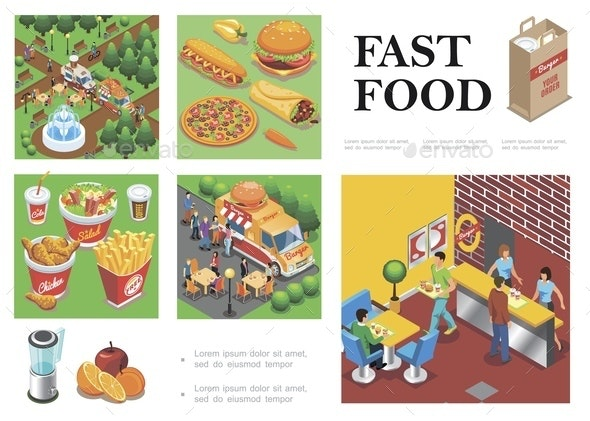 Isometric Fast Food Composition - People Characters