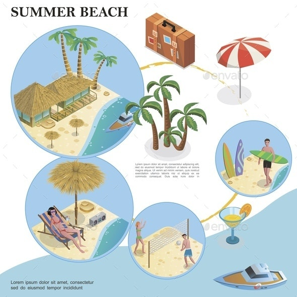 Isometric Summer Vacation Template - Seasons/Holidays Conceptual