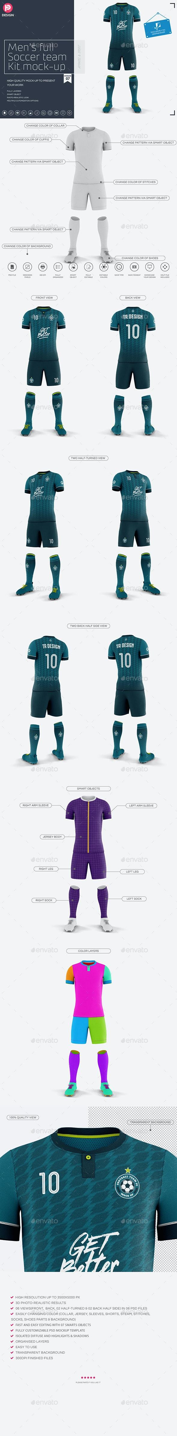 Men's Full Soccer Team Kit Mockup V7 - Miscellaneous Product Mock-Ups