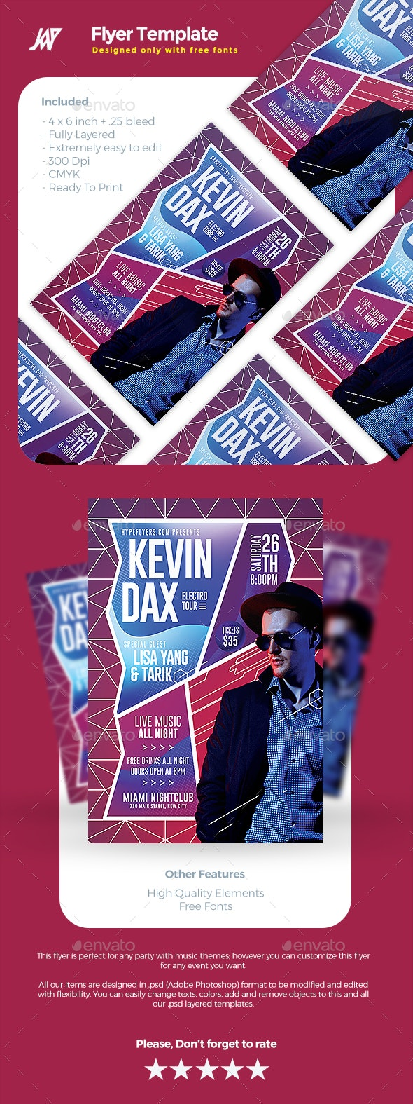 Artist Concert Event or Party Flyer - Concerts Events