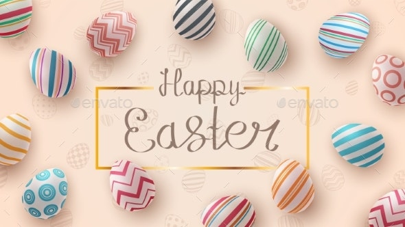 Happy Easter Realistic Egg Template - Backgrounds Decorative