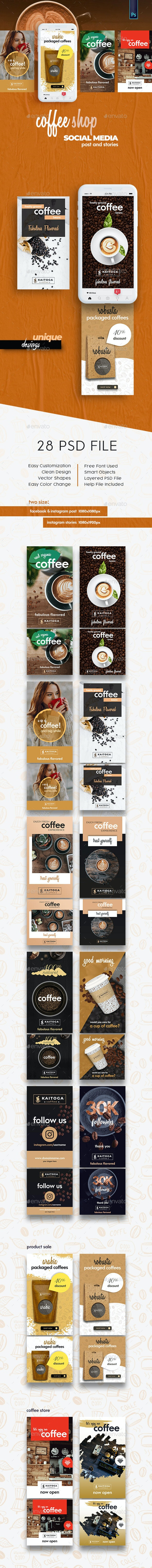 Coffee Shop Banner - Social Media Post and Strories - Social Media Web Elements
