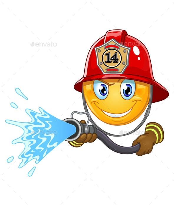Fireman Emoticon - People Characters