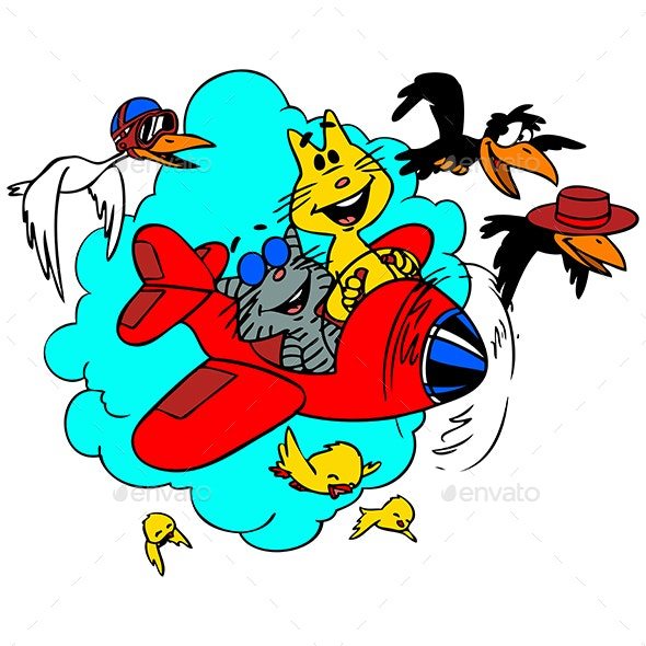 Cartoon Cats Traveling by Plane Vector Illustration - Animals Characters