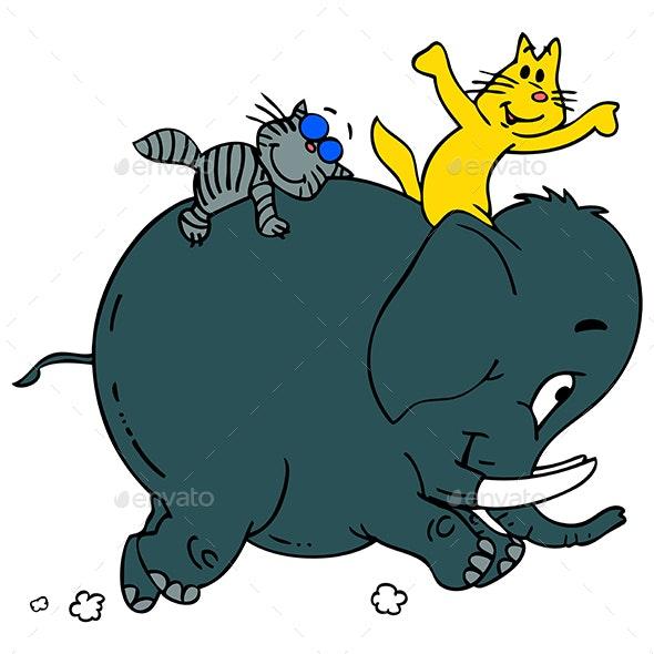 Cartoon Cats Going to Safari Vector Illustration - Animals Characters